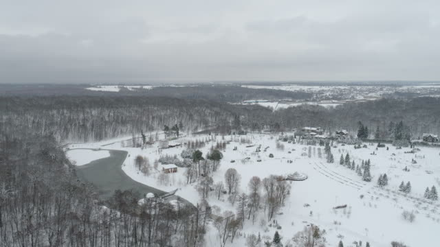 aerial view of park feofania after a heavy snowfall - ukraine stock videos and b-roll footage