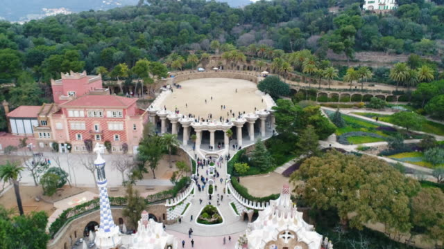 aerial view of park guell at catalunya - grounds stock videos and b-roll footage