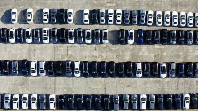 aerial view of parked cars - tarmac stock videos & royalty-free footage