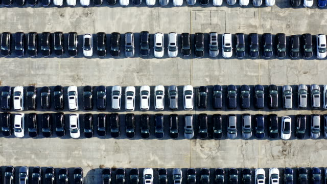 aerial view of parked cars - abundance stock videos & royalty-free footage