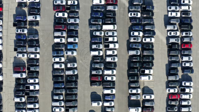aerial view of parked cars - large group of objects stock videos & royalty-free footage