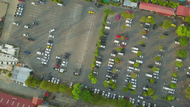 Aerial View of Parking lot of cars