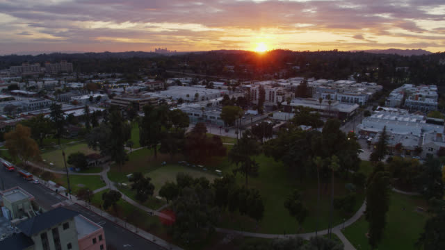aerial view of pasadena, california at dusk - pasadena california stock videos & royalty-free footage
