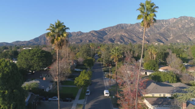 Aerial view of Pasadena residential street at sunset