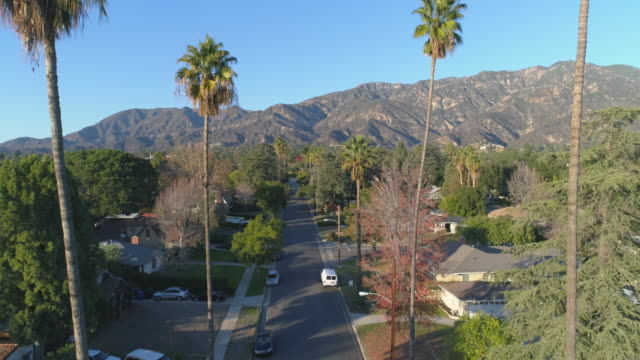 Aerial view of Pasadena residential street in slow motion