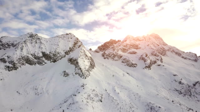Aerial view of Passo Paradiso from Passo del Tonale with sunlight