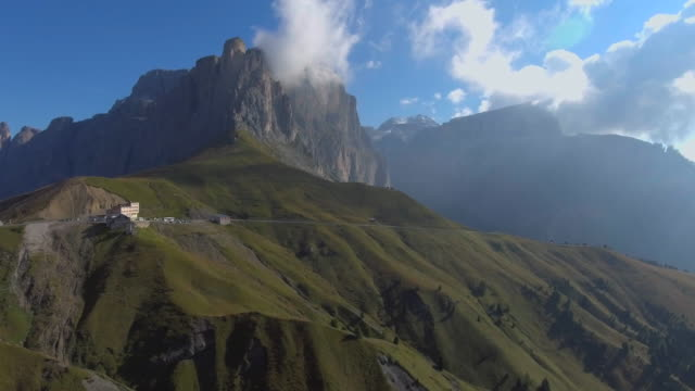 Aerial view of Passo Sella in Dolomites mountain range