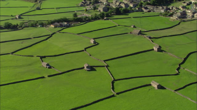 Aerial view of pastures divided by dry-stone walls in Swaledale in Yorkshire Dales / pan to village and cluster of homes / North Yorkshire, England