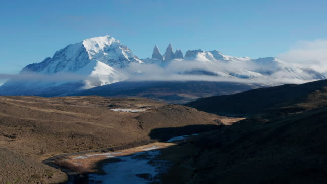 aerial view of patagonia torres del paine national park, chile - south stock videos & royalty-free footage