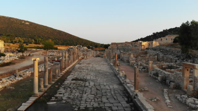 aerial view of patara ancient city - mediterranean turkey stock videos and b-roll footage