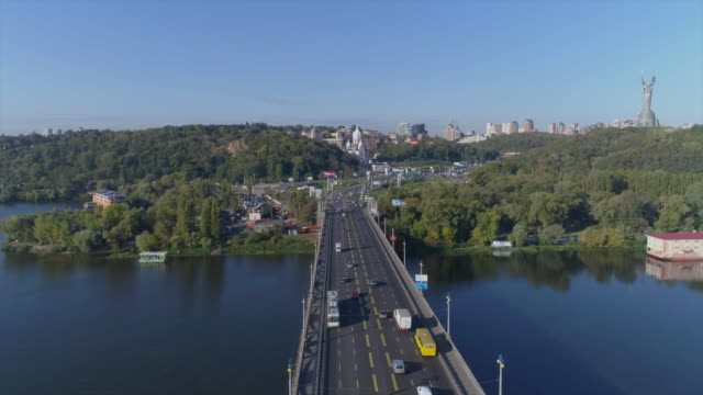 09/28/2017. aerial view of paton bridge, kiev. - キエフ市点の映像素材/bロール