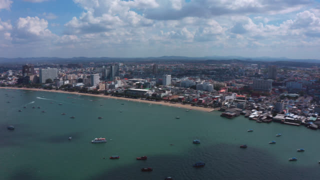aerial view of pattaya beach in pattaya city, chonburi province near bangkok, thailand - chonburi province stock videos & royalty-free footage
