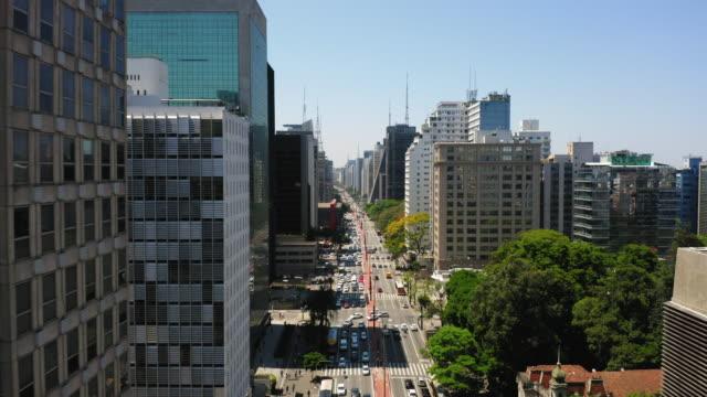 aerial view of paulista avenue and the buildings around, sao paulo, brazil - são paulo state stock videos & royalty-free footage
