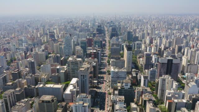 巴西聖保羅保利斯塔大道和周圍建築物的鳥瞰圖。 - 高清電視 影像的技術 個影片檔及 b 捲影像