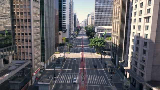 aerial view of paulista avenue in sao paulo during covid 19 coronavirus quarantine with drone - avenue stock videos & royalty-free footage