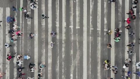 vídeos y material grabado en eventos de stock de vista aérea de peatones que caminan a través de tráfico abarrotado - cruzar