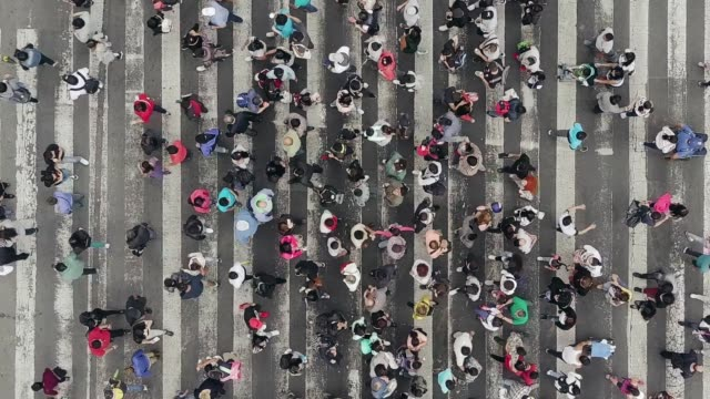 vídeos de stock e filmes b-roll de aerial view of pedestrians walking across with crowded traffic - city