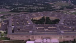 Aerial view of Pentagon at sunrise.