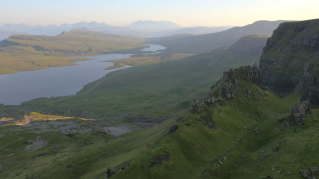 aerial view of people by old man skye - scottish highlands stock videos and b-roll footage