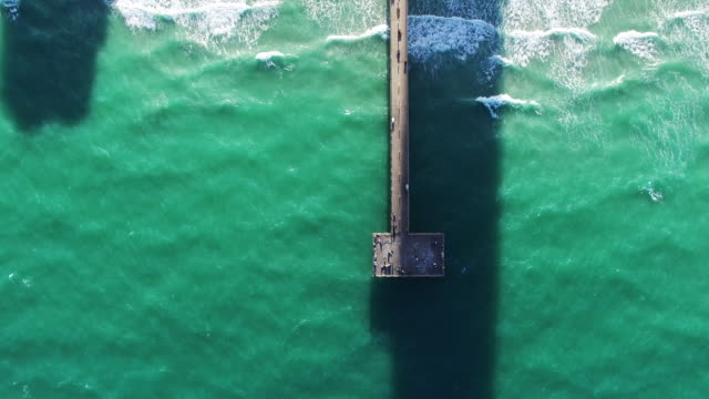 Aerial view of people on dock