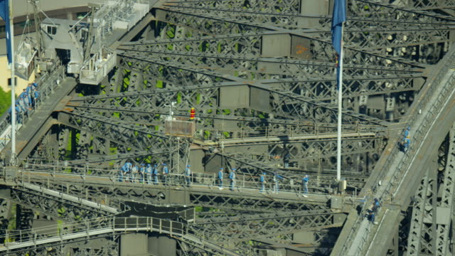 aerial view of people on sydney harbor bridge - sydney stock videos & royalty-free footage