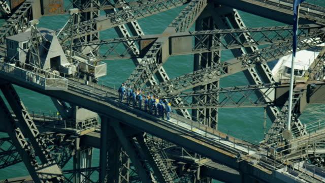 aerial view of people on sydney harbor bridge - engineer stock videos & royalty-free footage