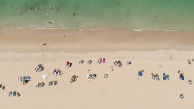aerial view of people on the beach.