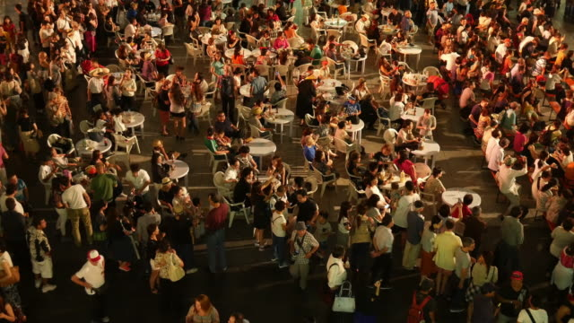 Aerial view of people party