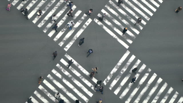 vídeos de stock e filmes b-roll de aerial view of people passing crosswalk in the downtown street. - ginza