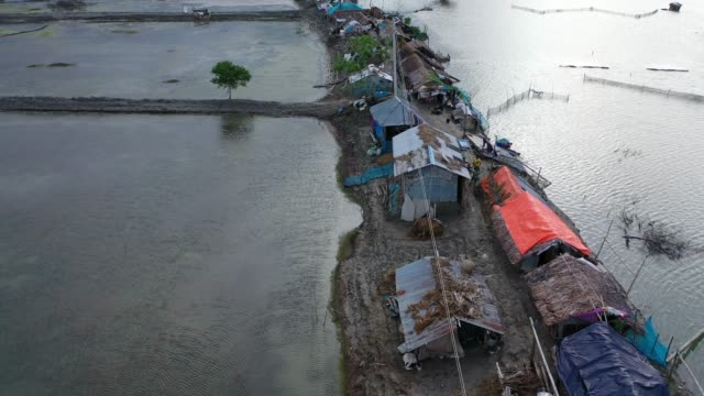 aerial view of people taking shelter on embankments in coastal areas. embankments have collapsed due to tidal surges in bangladesh on august 20,... - eroded stock videos & royalty-free footage