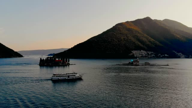 aerial view of perast - montenegro - perast stock videos and b-roll footage