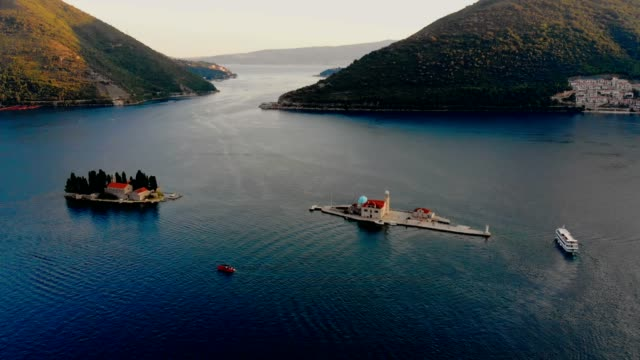 aerial view of perast - montenegro - church stock videos & royalty-free footage