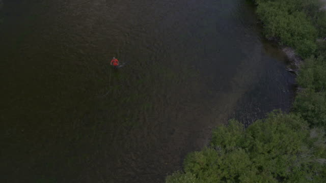 aerial view of person fly fishing in lake / provo, utah, united states - provo stock videos & royalty-free footage