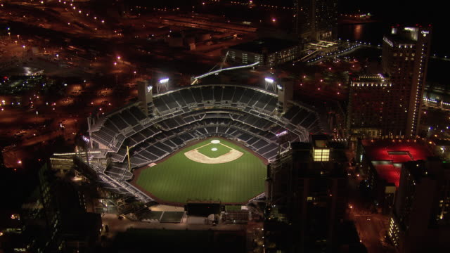 aerial view of petco park at night, san diego, california, united states of america - floodlight stock videos & royalty-free footage
