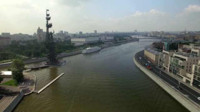 aerial view of peter the great statue - st. petersburg russia stock videos & royalty-free footage