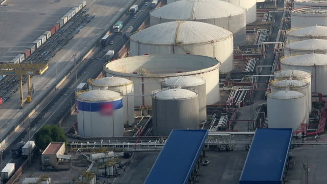 vdo : aerial view of petrol industrial zone - storage compartment stock videos and b-roll footage