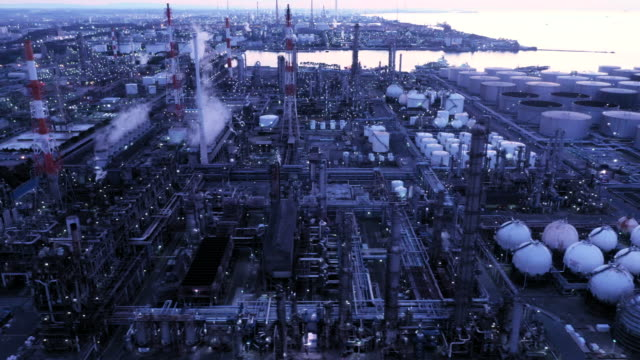aerial view of petroleum plant - chemikalie stock-videos und b-roll-filmmaterial