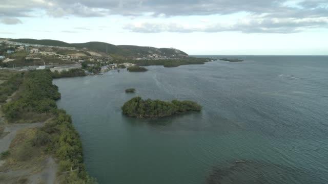 """aerial view of peñuela's cay area in """"el boquete"""" peñuelas puerto rico. - cay insel stock-videos und b-roll-filmmaterial"""