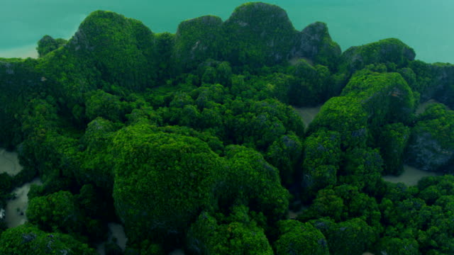 vídeos de stock e filmes b-roll de aerial view of phang nga bay, thailand - mar de andamão