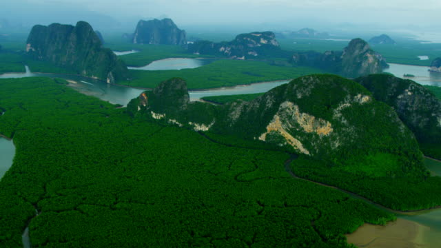 aerial view of phang nga bay, thailand - phang nga bay stock videos and b-roll footage