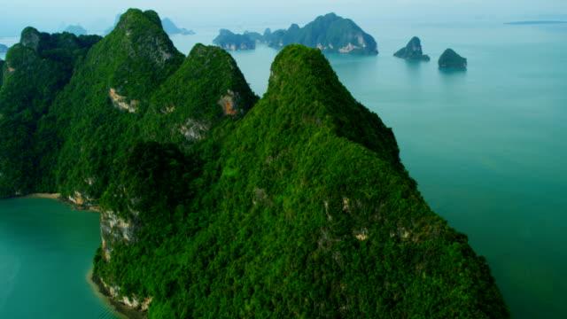 aerial view of phang nga bay, thailand - クラビ県点の映像素材/bロール