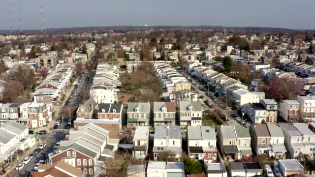 aerial view of philadelphia suburbs from roxborough, manayunk - terraced house stock videos & royalty-free footage
