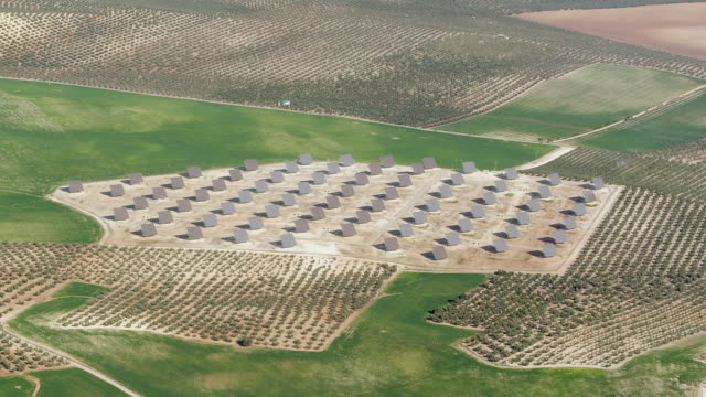 aerial view of photovoltaic plant - 2k resolution stock videos and b-roll footage