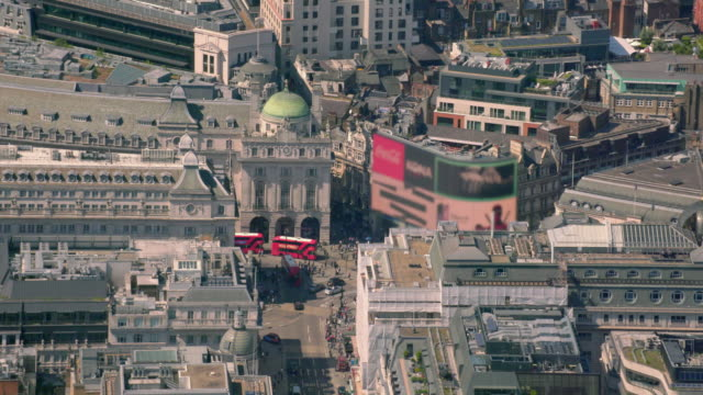 aerial view of piccadilly circus, london, uk. 4k - piccadilly circus stock videos and b-roll footage