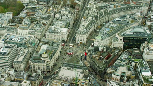 Aerial view of Piccadilly Circus London UK
