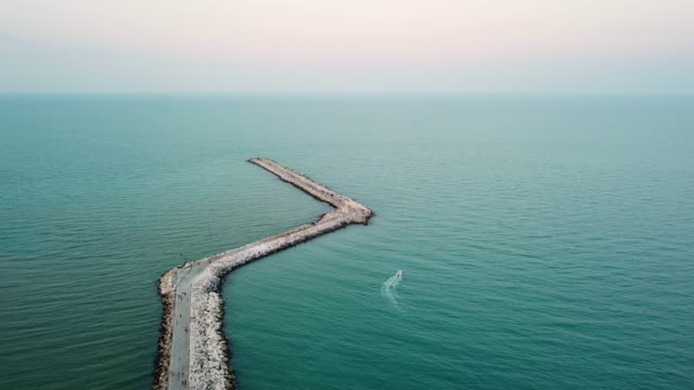 aerial view of pier from drone - passenger craft stock videos & royalty-free footage