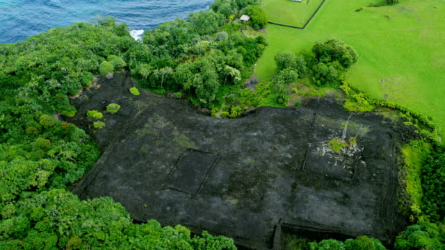 aerial view of piilanihale heiau ancient ruin maui - hawaii inselgruppe stock-videos und b-roll-filmmaterial