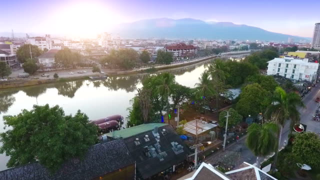 aerial view of ping river and chiang mai city, thailand. - chiang mai city stock videos and b-roll footage