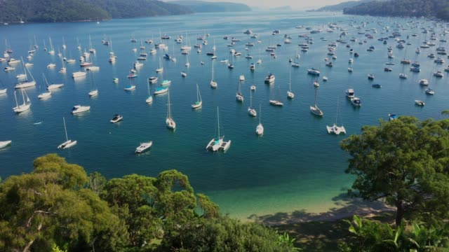 aerial view of pittwater, clareville harbour northern beaches, sydney australia - sydney stock videos & royalty-free footage