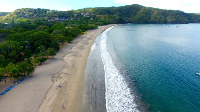 aerial view of playa hermosa, guanacaste, costa rica - costa rica stock videos & royalty-free footage